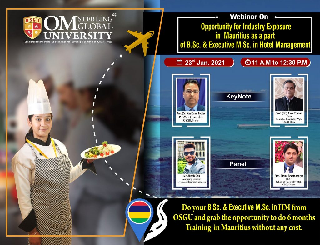 Shape your career through hospitality sector; Join B.Sc. or Executive M.Sc. in Hotel Management in OSGU to build your future