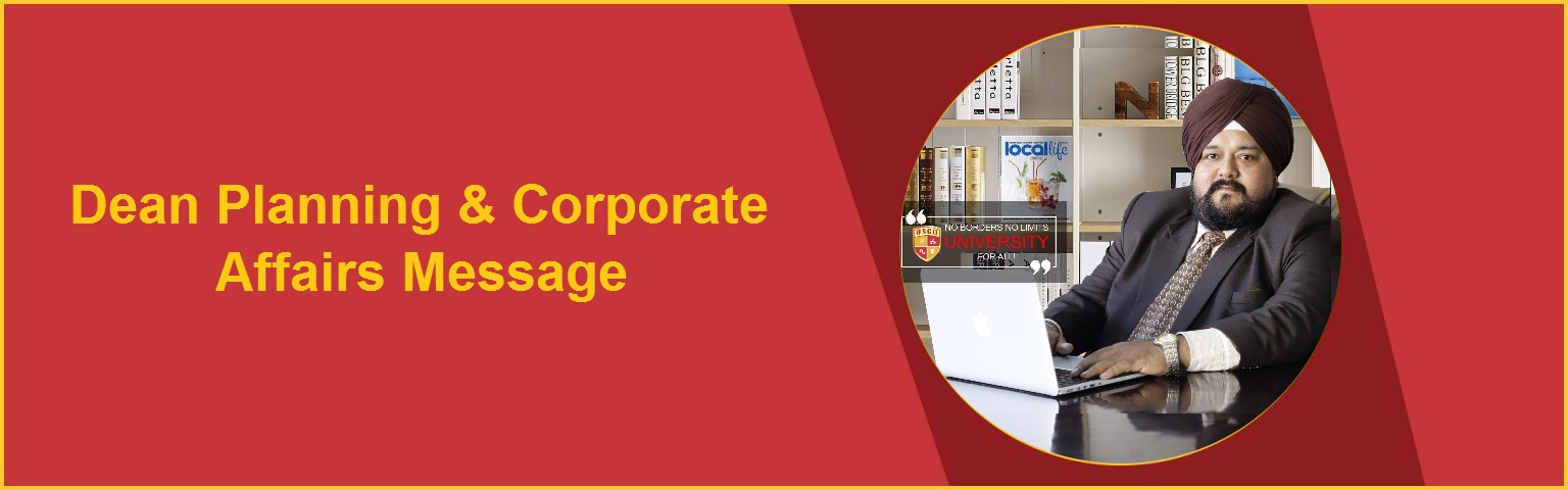 Dean Planing and Corporate Affairs Message OSGU HIsar
