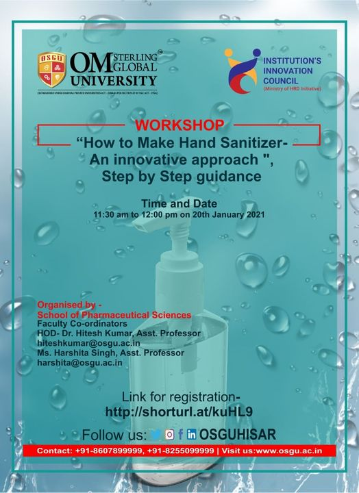 How to make Hand Sanitizer with a focus on Innovation and Entrepreneurship OSGU Hisar