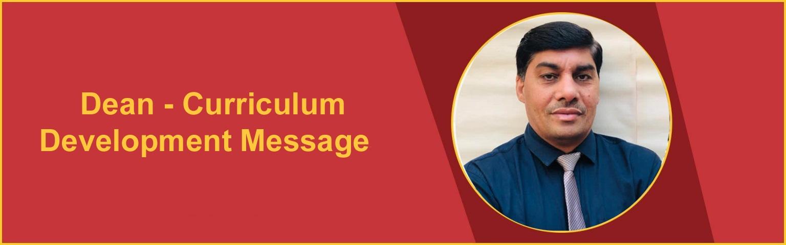 Dean-Curriculum Development Message OSGU Hisar