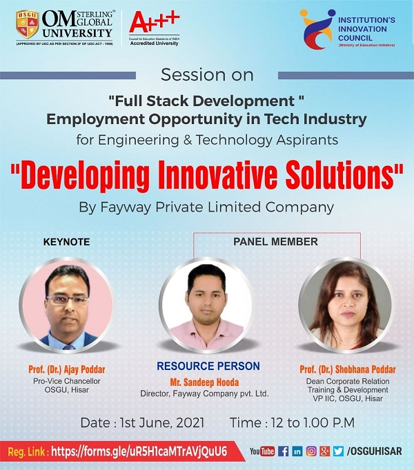 """Session on 'Full Stack Development Employment' Opportunity in Tech Industry """"Developing innovative solutions"""" By Fayway Private Limited Company."""