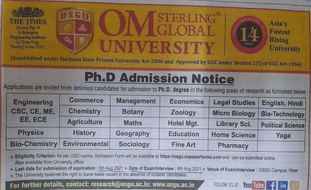PhD-Admission-Om-Sterling-Global-University-Hisar
