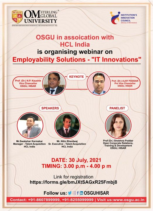 OSGU in Association with HCL India is organizing Webinar on Employability Solutions & Information technology (IT)