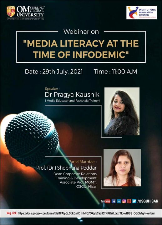 Om Sterling Global University Hisar organizing a Webinar on Media Literacy at the time of Infodemic